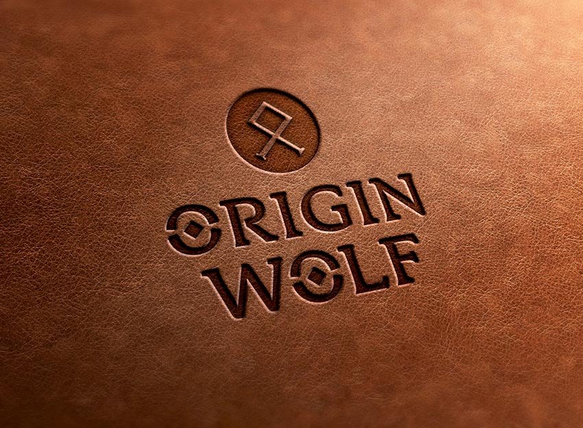 Origin Wolf - Logo design in leather
